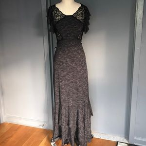 Free people rib marled maxi with lace inserts